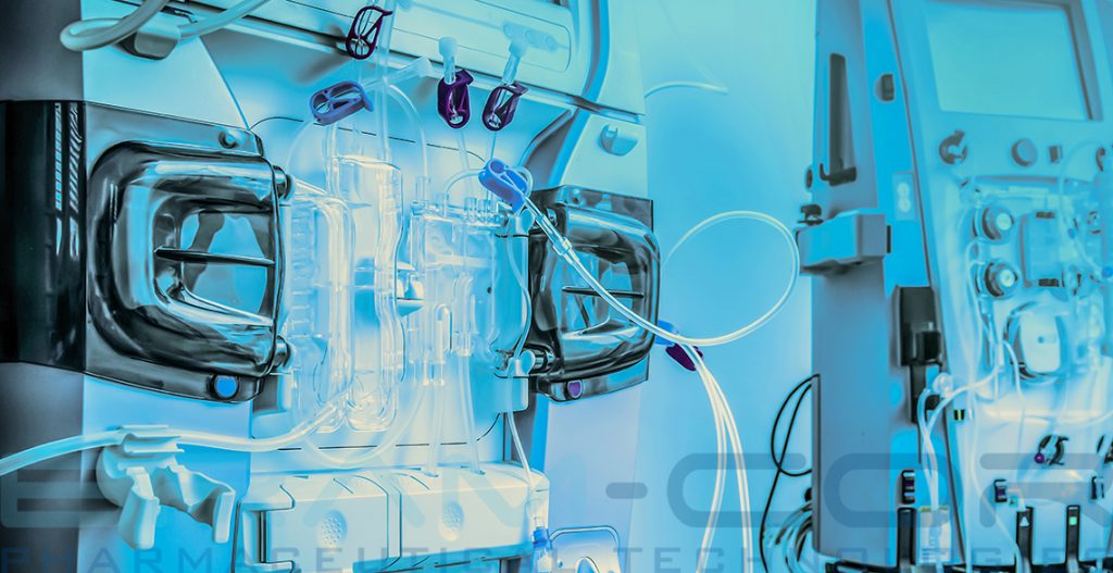 Hemodialysis machines with tubing and installations. IV Fluids Parenteral Solutions.